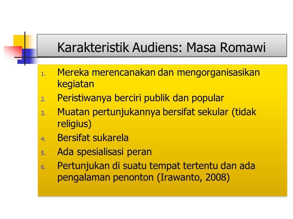 Karakteristik Audiens: Masa Romawi 1. Mereka merencanakan dan mengorganisasikan kegiatan 2. Peristiwanya berciri publik dan popular 3. Muatan pertunju
