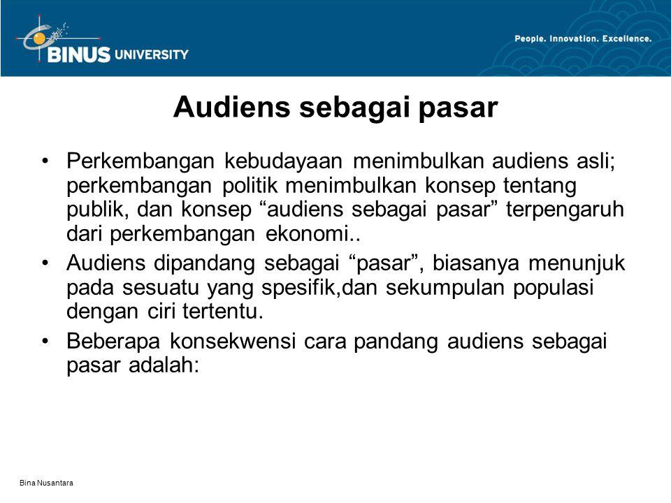 Bina Nusantara Audiens sebagai pasar Perkembangan kebudayaan menimbulkan audiens asli; perkembangan politik menimbulkan konsep tentang publik, dan konsep audiens sebagai pasar terpengaruh dari perkembangan ekonomi..