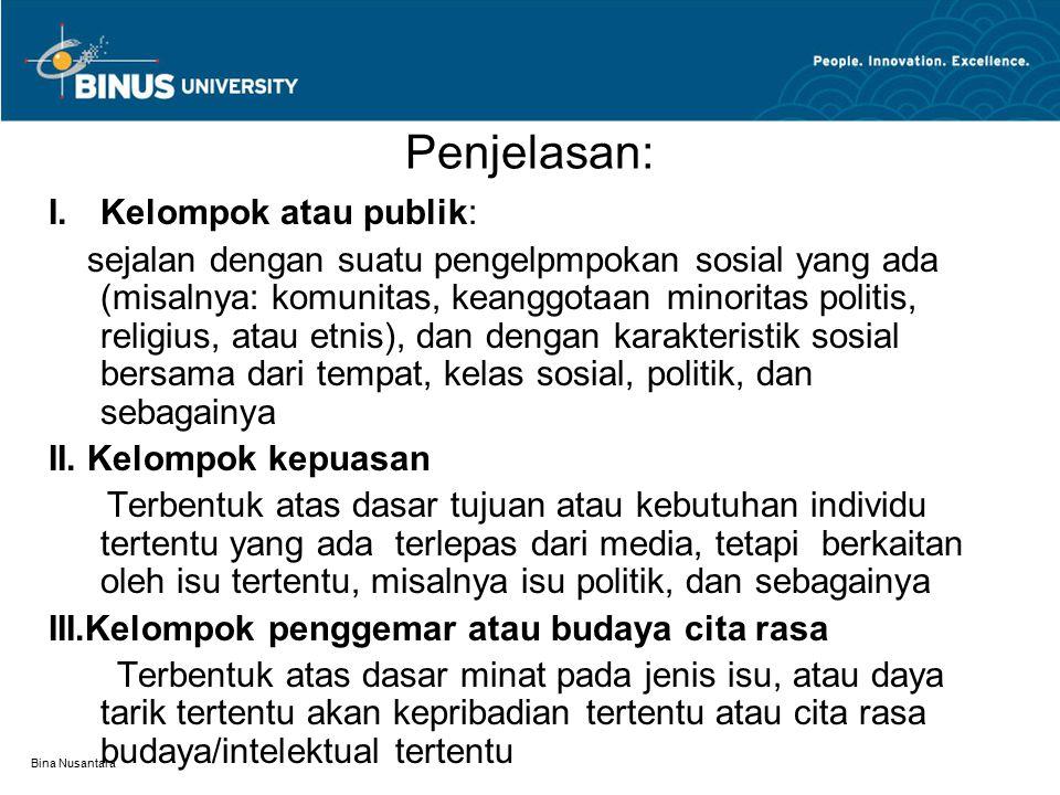 Bina Nusantara Penjelasan:  Kelompok atau publik: sejalan dengan suatu pengelpmpokan sosial yang ada (misalnya: komunitas, keanggotaan minoritas politis, religius, atau etnis), dan dengan karakteristik sosial bersama dari tempat, kelas sosial, politik, dan sebagainya II.