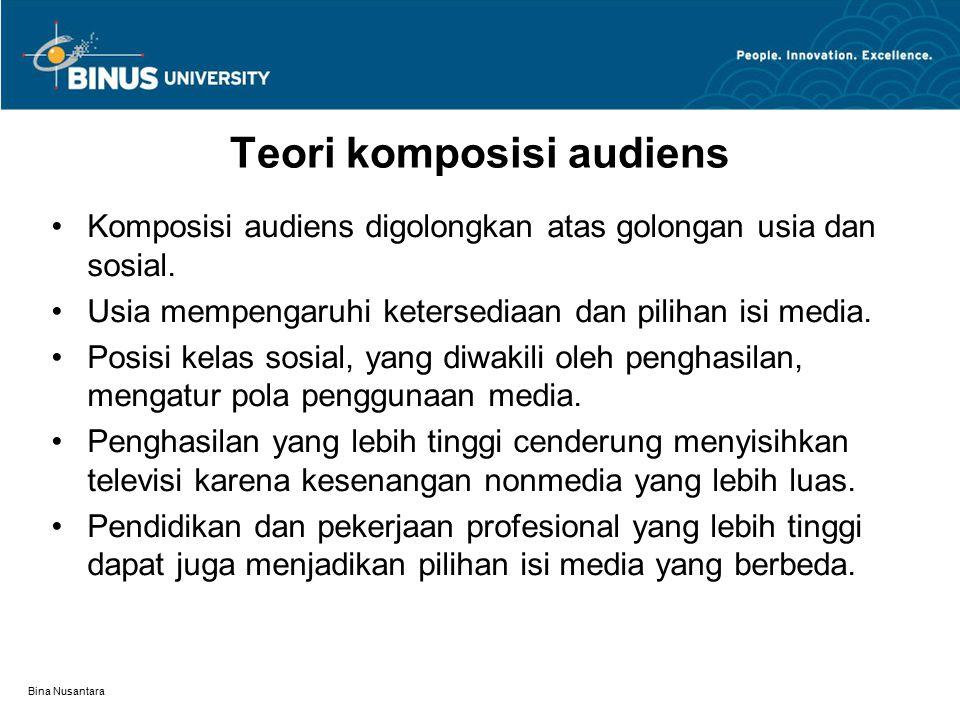 Bina Nusantara Teori komposisi audiens Komposisi audiens digolongkan atas golongan usia dan sosial.