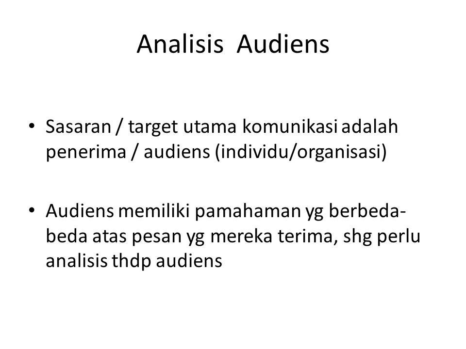 Analisis Audiens Sasaran / target utama komunikasi adalah penerima / audiens (individu/organisasi) Audiens memiliki pamahaman yg berbeda- beda atas pe
