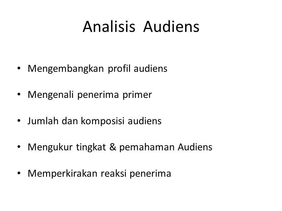 Analisis Audiens Mengembangkan profil audiens Mengenali penerima primer Jumlah dan komposisi audiens Mengukur tingkat & pemahaman Audiens Memperkiraka