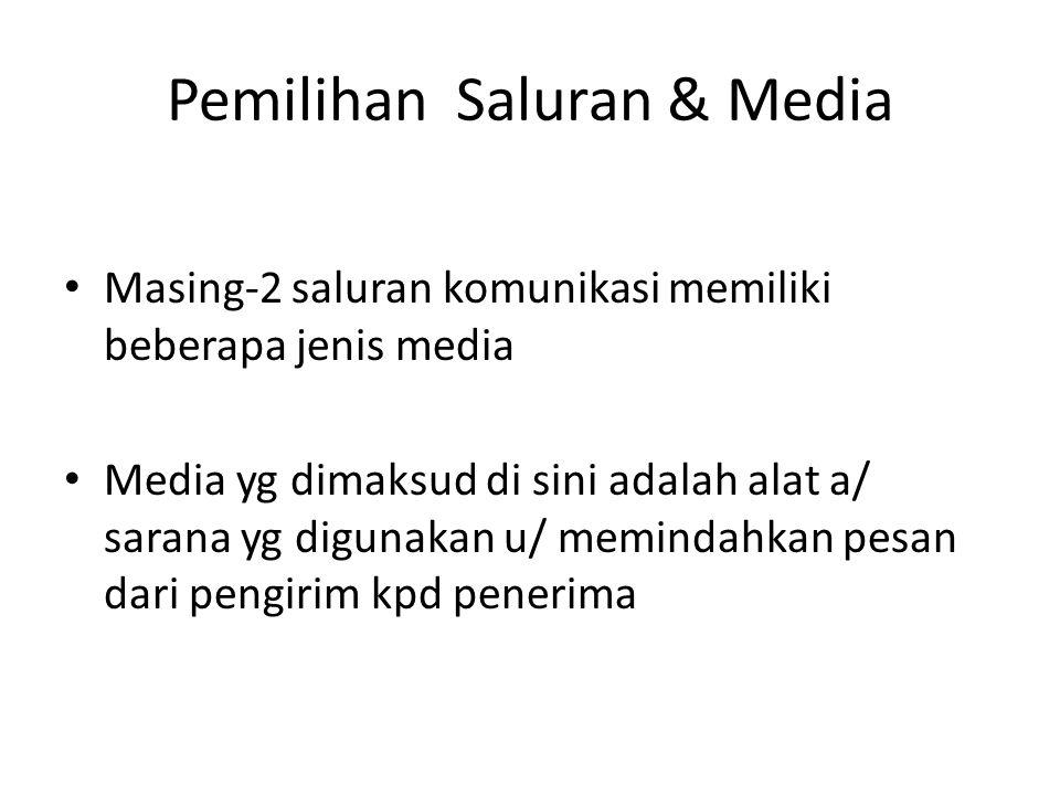 Pemilihan Saluran & Media Masing-2 saluran komunikasi memiliki beberapa jenis media Media yg dimaksud di sini adalah alat a/ sarana yg digunakan u/ me