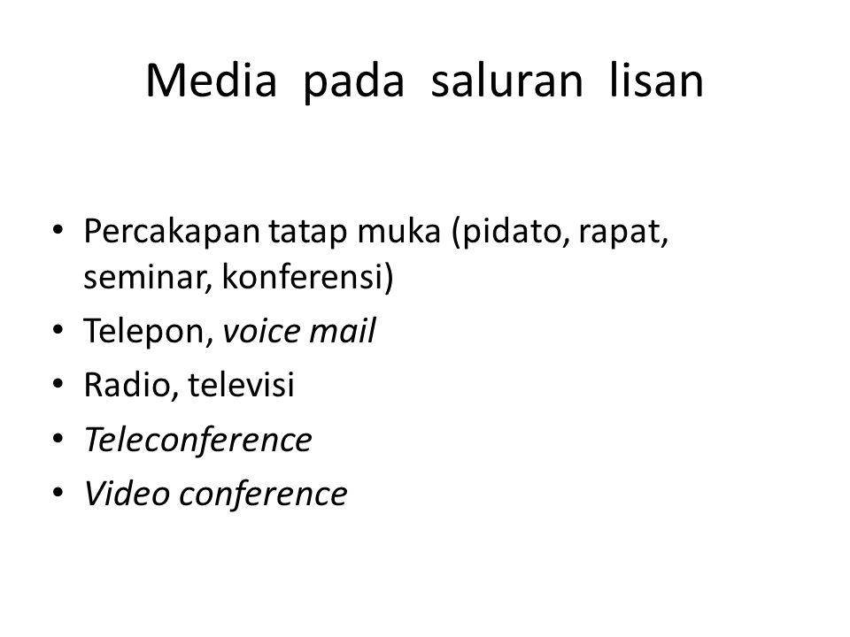Media pada saluran lisan Percakapan tatap muka (pidato, rapat, seminar, konferensi) Telepon, voice mail Radio, televisi Teleconference Video conferenc