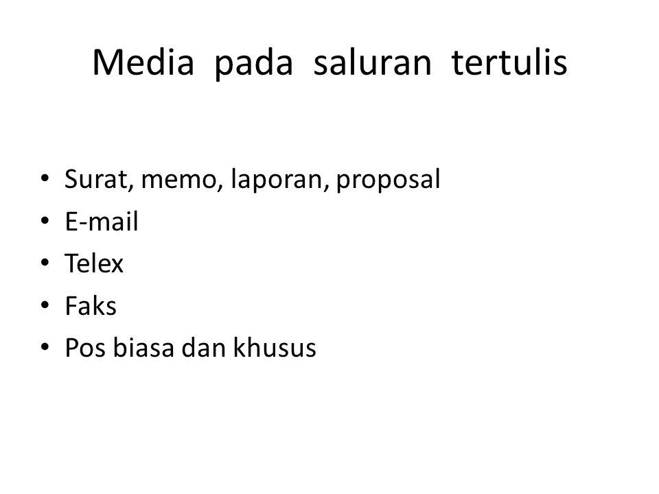Media pada saluran tertulis Surat, memo, laporan, proposal E-mail Telex Faks Pos biasa dan khusus