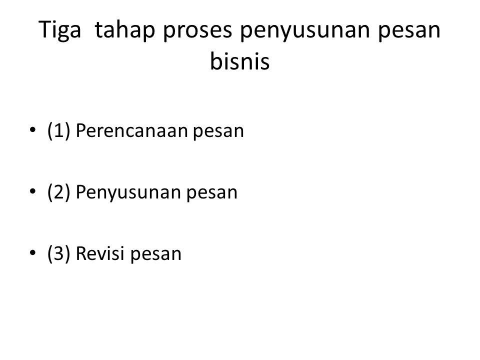 Tiga tahap proses penyusunan pesan bisnis (1) Perencanaan pesan (2) Penyusunan pesan (3) Revisi pesan