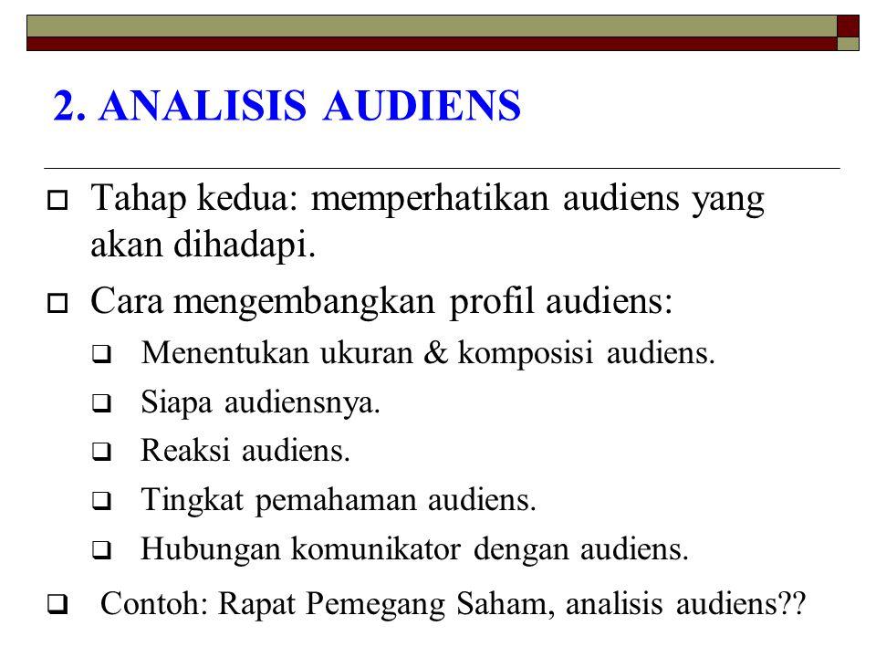 2. ANALISIS AUDIENS  Tahap kedua: memperhatikan audiens yang akan dihadapi.  Cara mengembangkan profil audiens:  Menentukan ukuran & komposisi audi