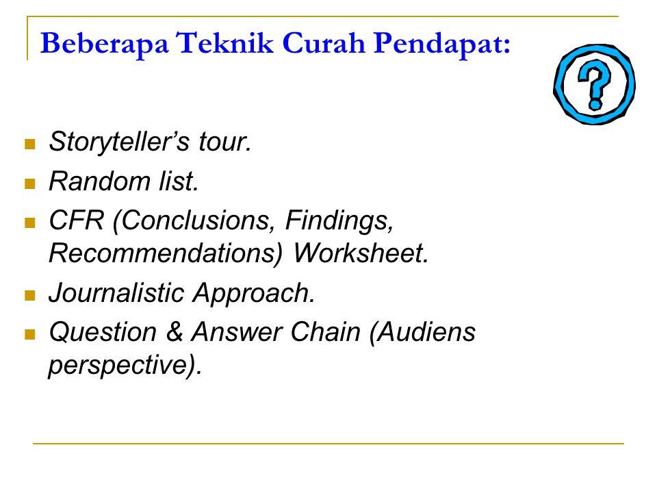 Beberapa Teknik Curah Pendapat: Storyteller's tour. Random list. CFR (Conclusions, Findings, Recommendations) Worksheet. Journalistic Approach. Questi