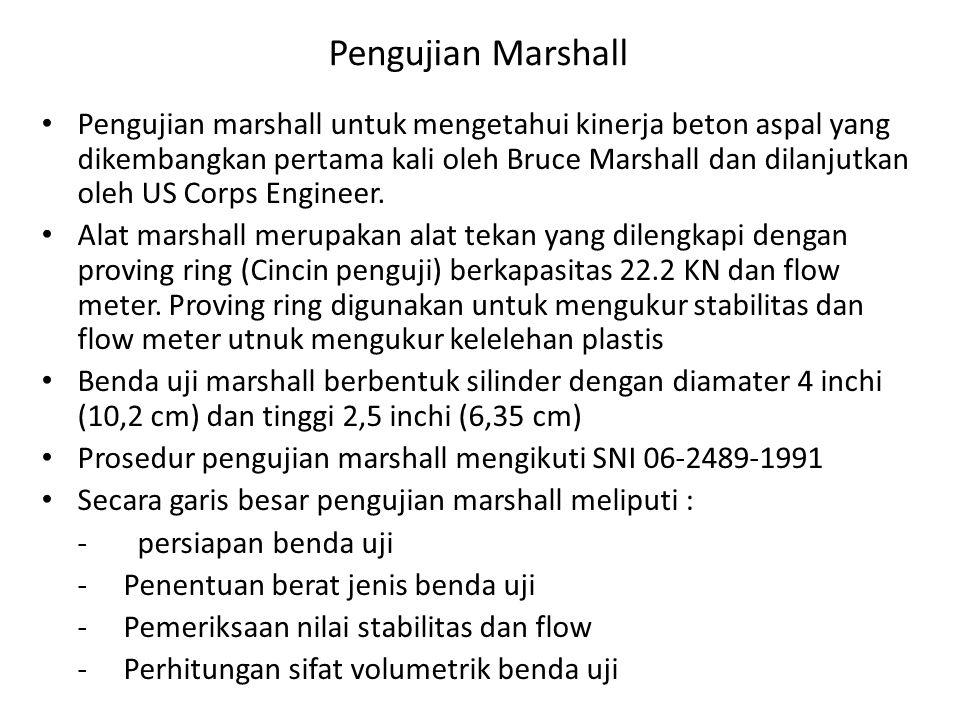Pengujian Marshall Pengujian marshall untuk mengetahui kinerja beton aspal yang dikembangkan pertama kali oleh Bruce Marshall dan dilanjutkan oleh US Corps Engineer.