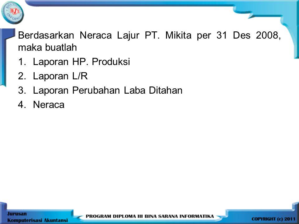 Berdasarkan Neraca Lajur PT. Mikita per 31 Des 2008, maka buatlah 1.Laporan HP. Produksi 2.Laporan L/R 3.Laporan Perubahan Laba Ditahan 4.Neraca