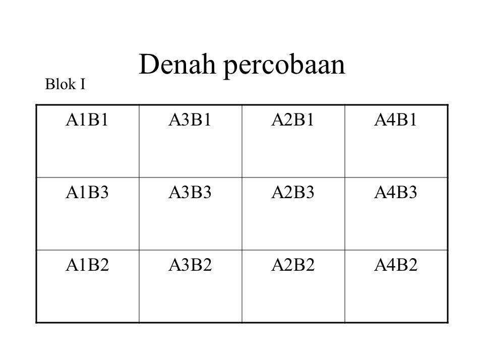 Denah percobaan A1B1A3B1A2B1A4B1 A1B3A3B3A2B3A4B3 A1B2A3B2A2B2A4B2 Blok I