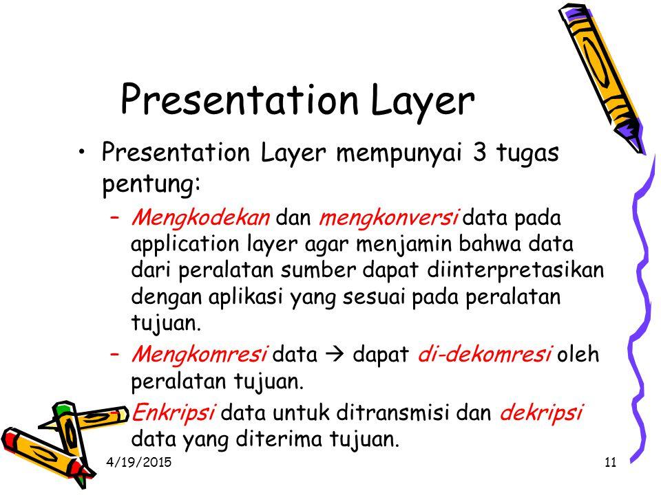 4/19/201511 Presentation Layer Presentation Layer mempunyai 3 tugas pentung: –Mengkodekan dan mengkonversi data pada application layer agar menjamin bahwa data dari peralatan sumber dapat diinterpretasikan dengan aplikasi yang sesuai pada peralatan tujuan.