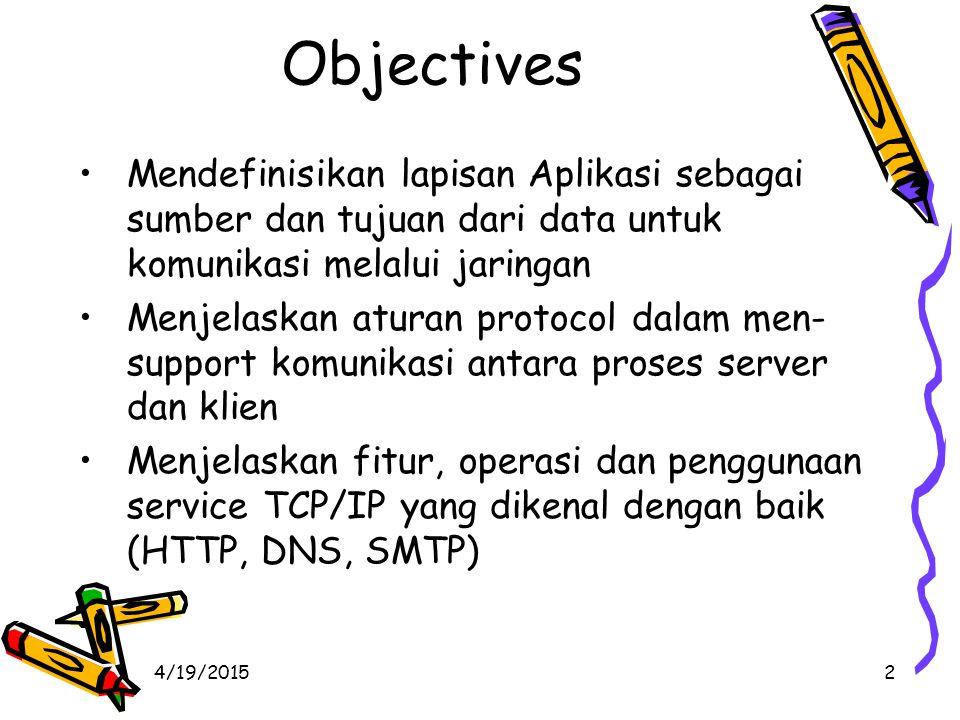 4/19/20152 Objectives Mendefinisikan lapisan Aplikasi sebagai sumber dan tujuan dari data untuk komunikasi melalui jaringan Menjelaskan aturan protocol dalam men- support komunikasi antara proses server dan klien Menjelaskan fitur, operasi dan penggunaan service TCP/IP yang dikenal dengan baik (HTTP, DNS, SMTP)