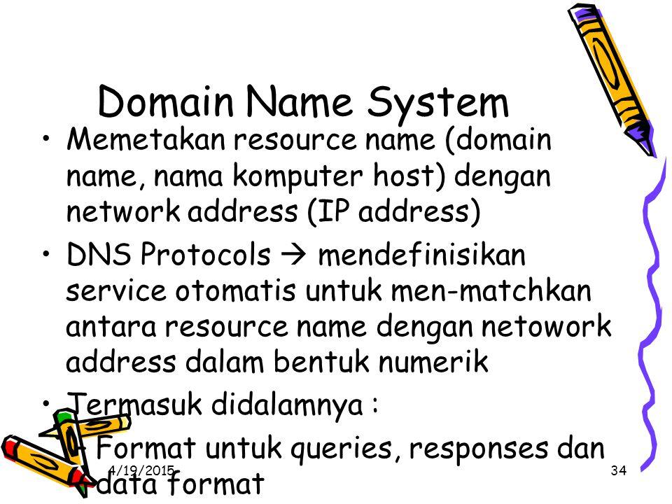 4/19/201534 Domain Name System Memetakan resource name (domain name, nama komputer host) dengan network address (IP address) DNS Protocols  mendefinisikan service otomatis untuk men-matchkan antara resource name dengan netowork address dalam bentuk numerik Termasuk didalamnya : –Format untuk queries, responses dan data format