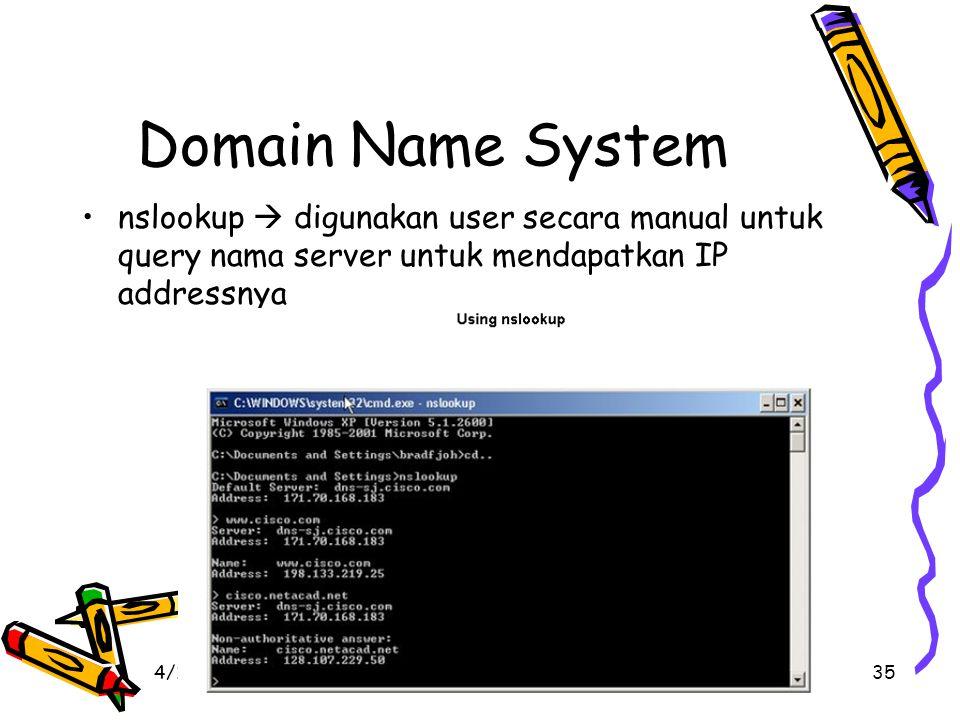 4/19/201535 Domain Name System nslookup  digunakan user secara manual untuk query nama server untuk mendapatkan IP addressnya