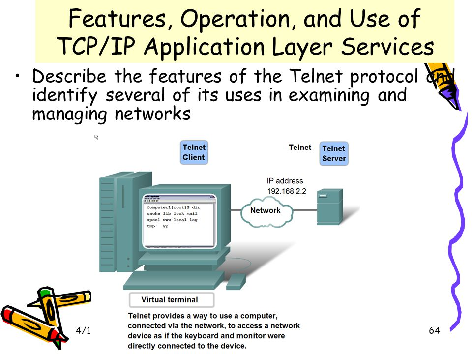 4/19/201564 Features, Operation, and Use of TCP/IP Application Layer Services Describe the features of the Telnet protocol and identify several of its uses in examining and managing networks