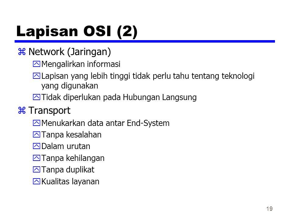 19 Lapisan OSI (2) zNetwork (Jaringan) yMengalirkan informasi yLapisan yang lebih tinggi tidak perlu tahu tentang teknologi yang digunakan yTidak diperlukan pada Hubungan Langsung zTransport yMenukarkan data antar End-System yTanpa kesalahan yDalam urutan yTanpa kehilangan yTanpa duplikat yKualitas layanan