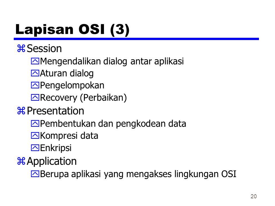 20 Lapisan OSI (3) zSession yMengendalikan dialog antar aplikasi yAturan dialog yPengelompokan yRecovery (Perbaikan) zPresentation yPembentukan dan pengkodean data yKompresi data yEnkripsi zApplication yBerupa aplikasi yang mengakses lingkungan OSI