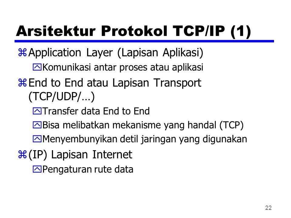 22 Arsitektur Protokol TCP/IP (1) zApplication Layer (Lapisan Aplikasi) yKomunikasi antar proses atau aplikasi zEnd to End atau Lapisan Transport (TCP/UDP/…) yTransfer data End to End yBisa melibatkan mekanisme yang handal (TCP) yMenyembunyikan detil jaringan yang digunakan z(IP) Lapisan Internet yPengaturan rute data
