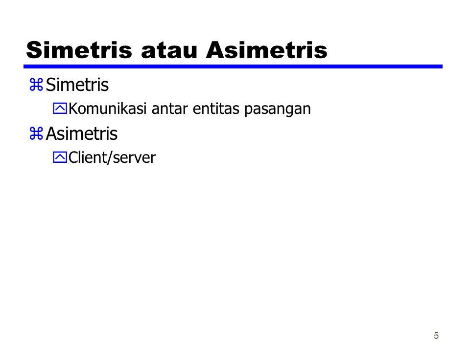 5 Simetris atau Asimetris zSimetris yKomunikasi antar entitas pasangan zAsimetris yClient/server
