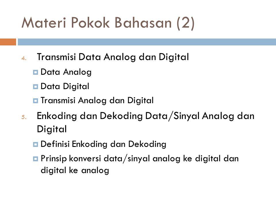 Materi Pokok Bahasan (2) 4. Transmisi Data Analog dan Digital  Data Analog  Data Digital  Transmisi Analog dan Digital 5. Enkoding dan Dekoding Dat