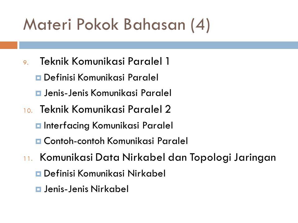 Materi Pokok Bahasan (4) 9. Teknik Komunikasi Paralel 1  Definisi Komunikasi Paralel  Jenis-Jenis Komunikasi Paralel 10. Teknik Komunikasi Paralel 2