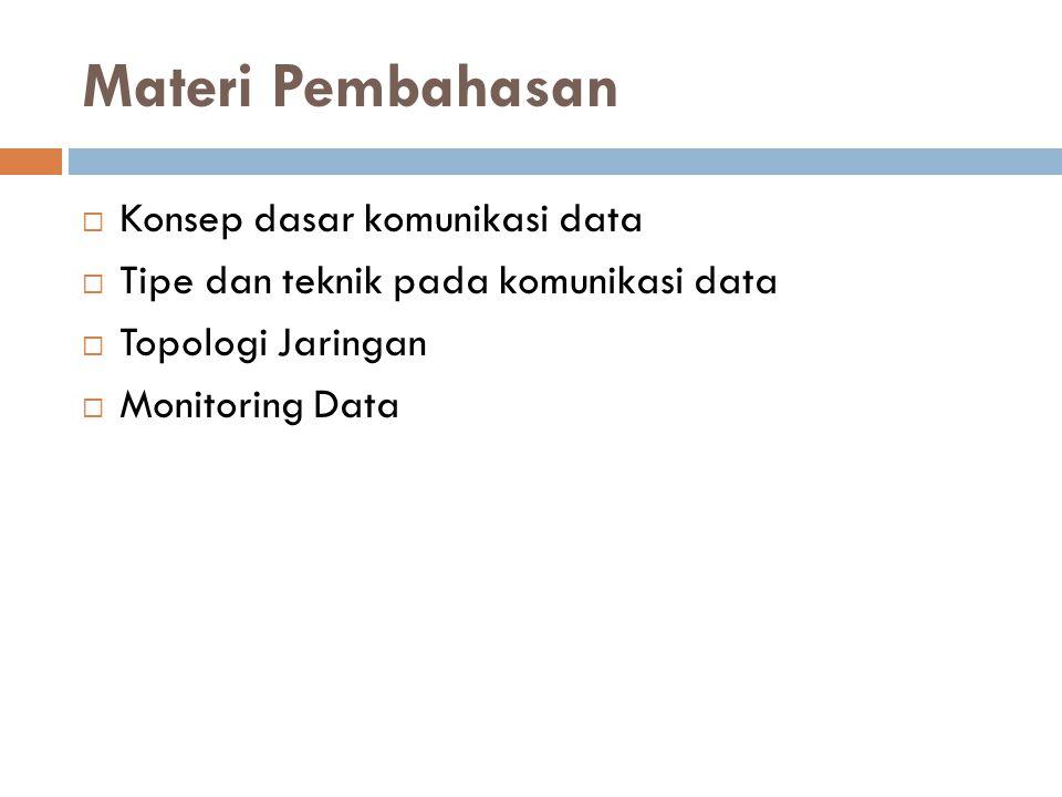 Materi Pembahasan  Konsep dasar komunikasi data  Tipe dan teknik pada komunikasi data  Topologi Jaringan  Monitoring Data