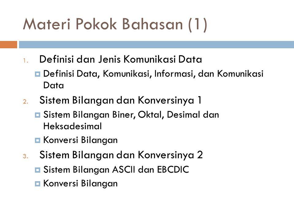 Materi Pokok Bahasan (1) 1. Definisi dan Jenis Komunikasi Data  Definisi Data, Komunikasi, Informasi, dan Komunikasi Data 2. Sistem Bilangan dan Konv