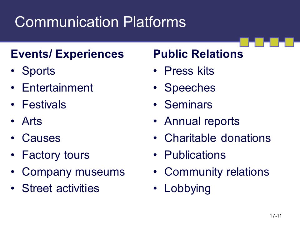 17-11 Communication Platforms Events/ Experiences Sports Entertainment Festivals Arts Causes Factory tours Company museums Street activities Public Relations Press kits Speeches Seminars Annual reports Charitable donations Publications Community relations Lobbying