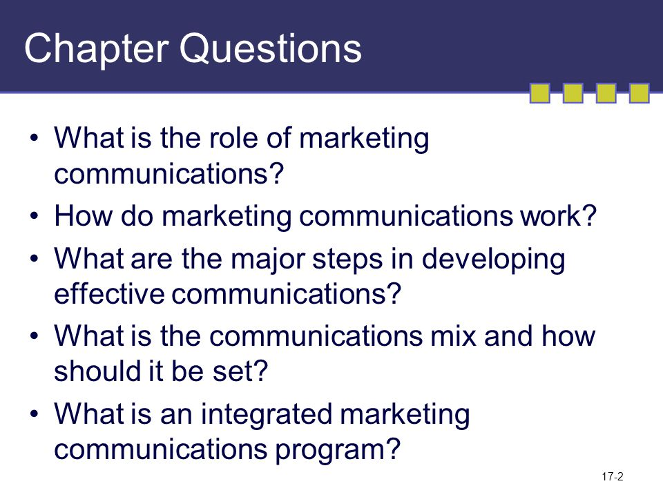 17-2 Chapter Questions What is the role of marketing communications.