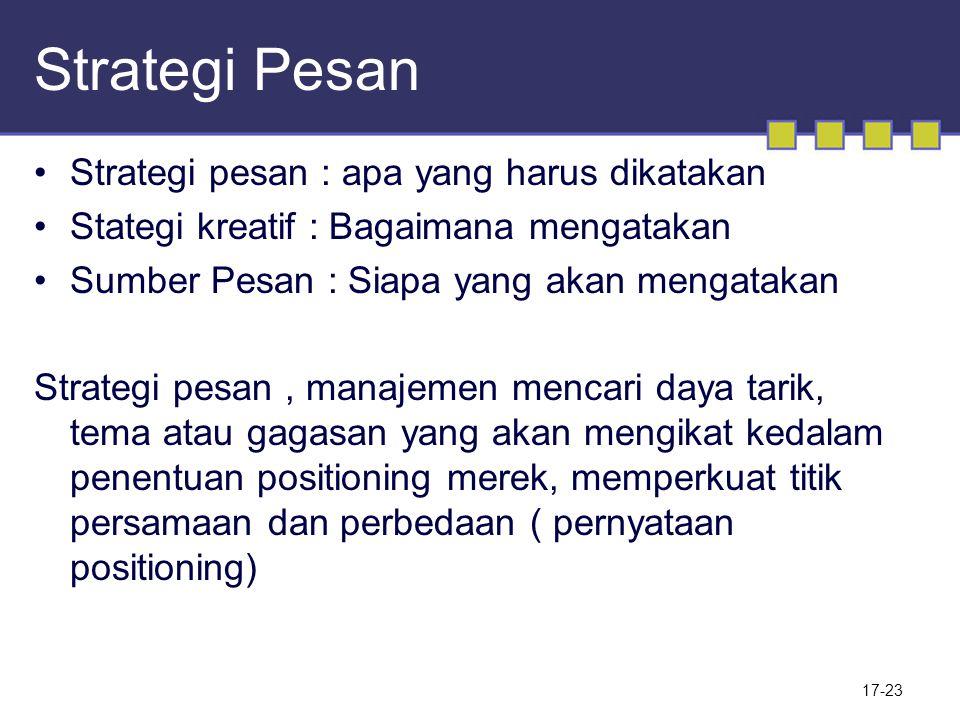 Strategi Pesan Strategi pesan : apa yang harus dikatakan Stategi kreatif : Bagaimana mengatakan Sumber Pesan : Siapa yang akan mengatakan Strategi pes