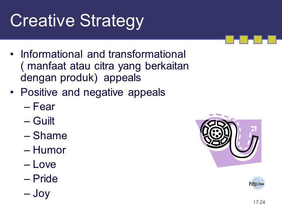 17-24 Creative Strategy Informational and transformational ( manfaat atau citra yang berkaitan dengan produk) appeals Positive and negative appeals –F
