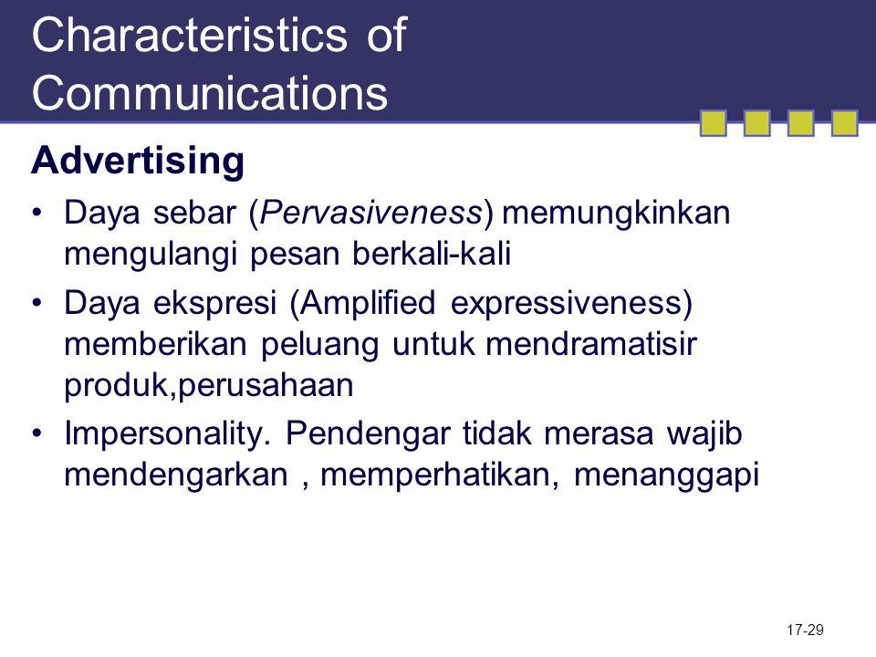 Characteristics of Communications Advertising Daya sebar (Pervasiveness) memungkinkan mengulangi pesan berkali-kali Daya ekspresi (Amplified expressiv