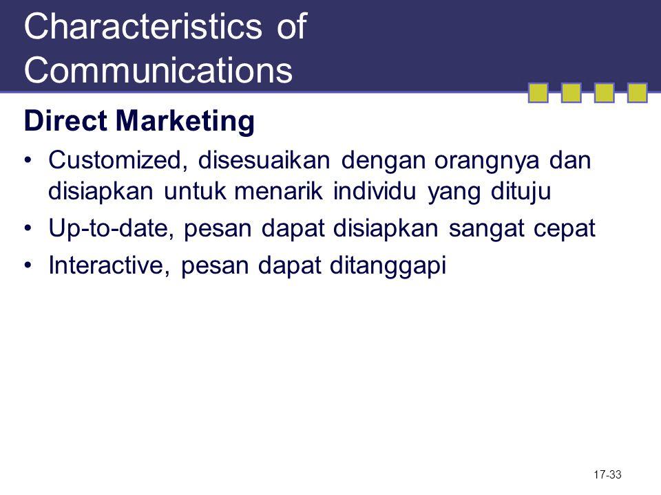 Characteristics of Communications Direct Marketing Customized, disesuaikan dengan orangnya dan disiapkan untuk menarik individu yang dituju Up-to-date