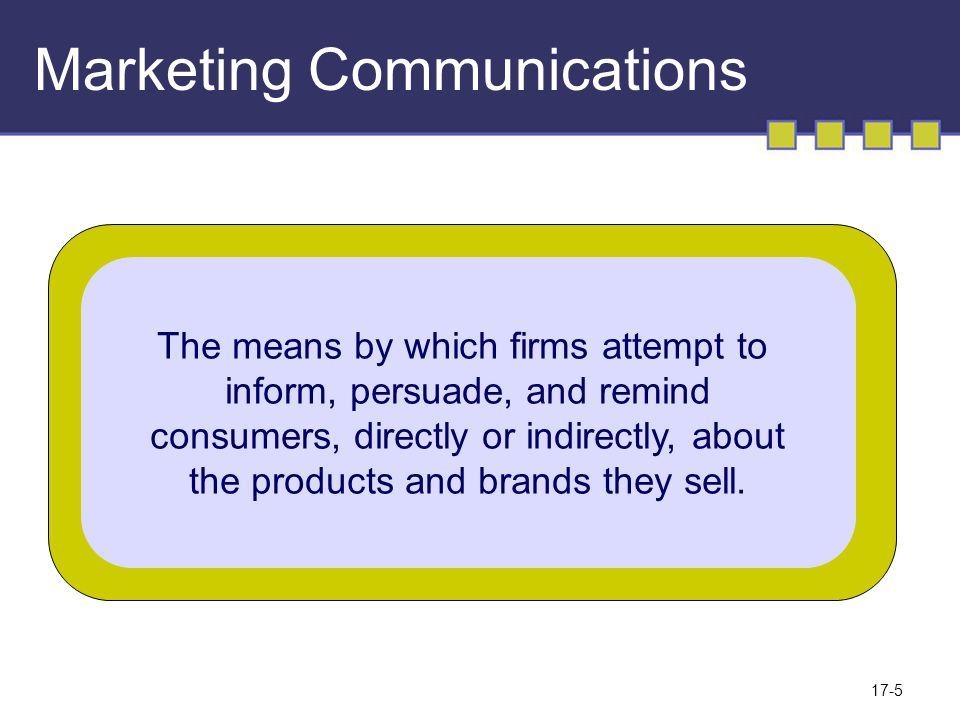 Komunikasi marketing Upaya yang digunakan perusahaan dalam untuk menginformasikan, membujuk dan mengingatkan konsumen langsung maupun tidak langsung mengenai produk atau merk yang mereka jual 17-6