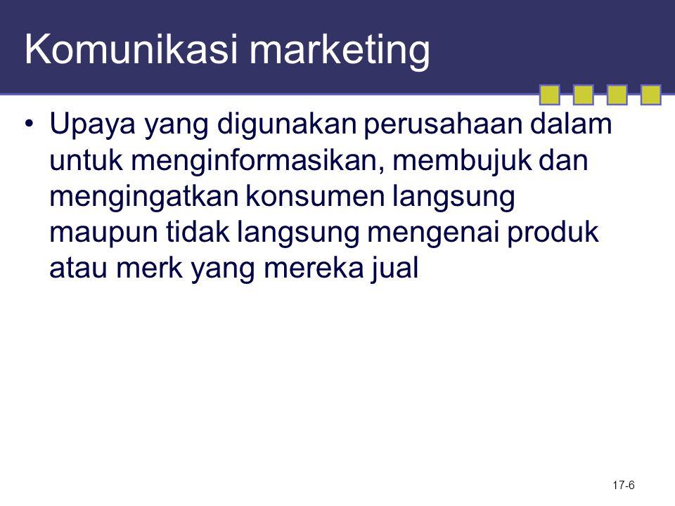 Komunikasi marketing Upaya yang digunakan perusahaan dalam untuk menginformasikan, membujuk dan mengingatkan konsumen langsung maupun tidak langsung m