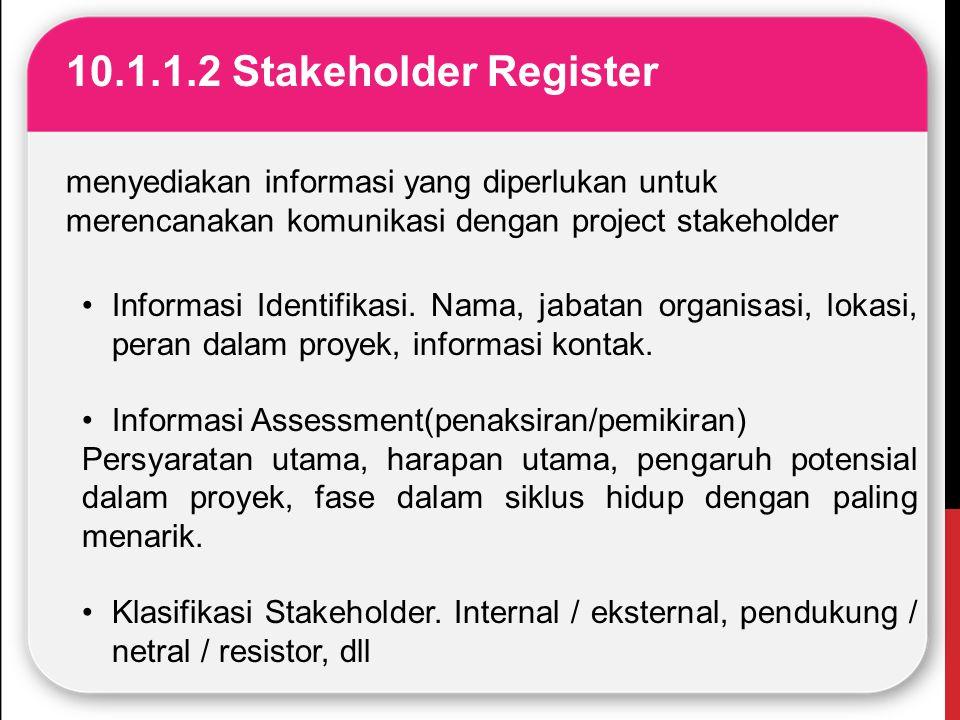 10.1.1.2 Stakeholder Register menyediakan informasi yang diperlukan untuk merencanakan komunikasi dengan project stakeholder Informasi Identifikasi. N