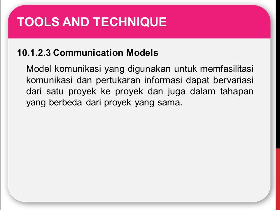 TOOLS AND TECHNIQUE 10.1.2.3 Communication Models Model komunikasi yang digunakan untuk memfasilitasi komunikasi dan pertukaran informasi dapat bervar