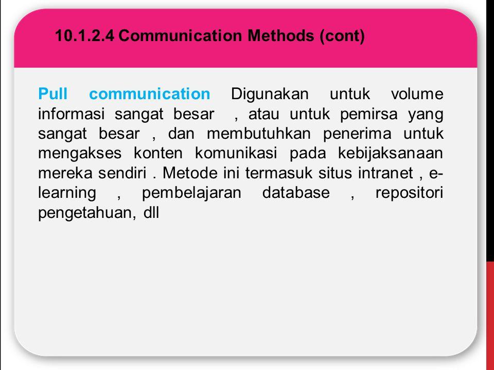 10.1.2.4 Communication Methods (cont) Pull communication Digunakan untuk volume informasi sangat besar, atau untuk pemirsa yang sangat besar, dan memb