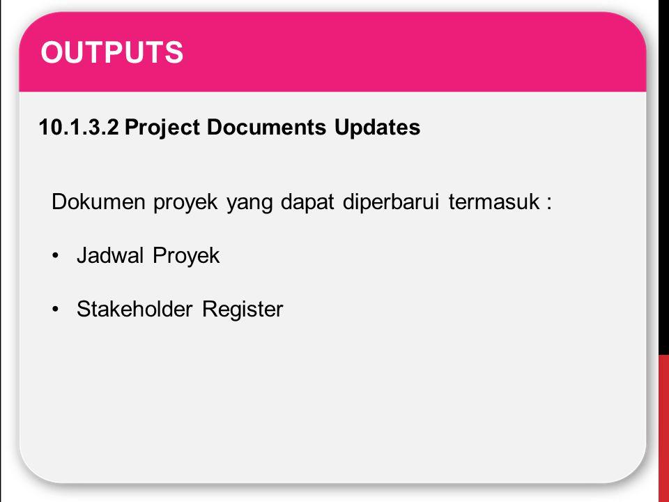 OUTPUTS 10.1.3.2 Project Documents Updates Dokumen proyek yang dapat diperbarui termasuk : Jadwal Proyek Stakeholder Register