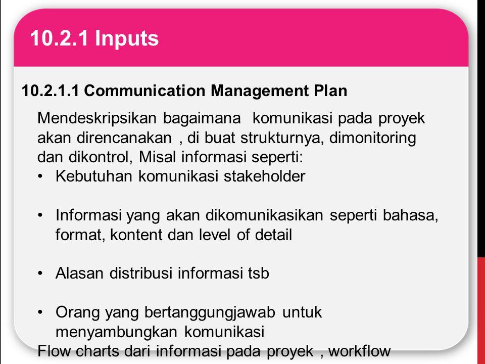 10.2.1 Inputs 10.2.1.1 Communication Management Plan Mendeskripsikan bagaimana komunikasi pada proyek akan direncanakan, di buat strukturnya, dimonito