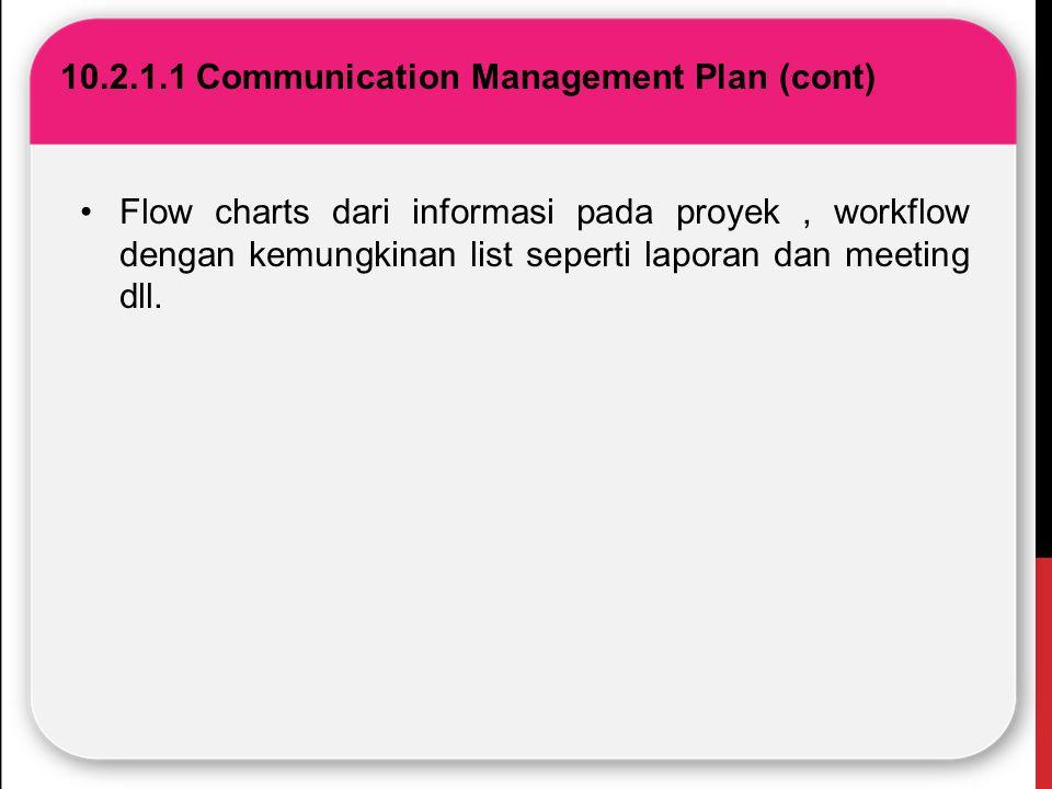 10.2.1.1 Communication Management Plan (cont) Flow charts dari informasi pada proyek, workflow dengan kemungkinan list seperti laporan dan meeting dll