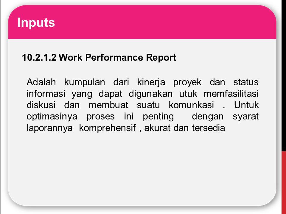 Inputs 10.2.1.2 Work Performance Report Adalah kumpulan dari kinerja proyek dan status informasi yang dapat digunakan utuk memfasilitasi diskusi dan m