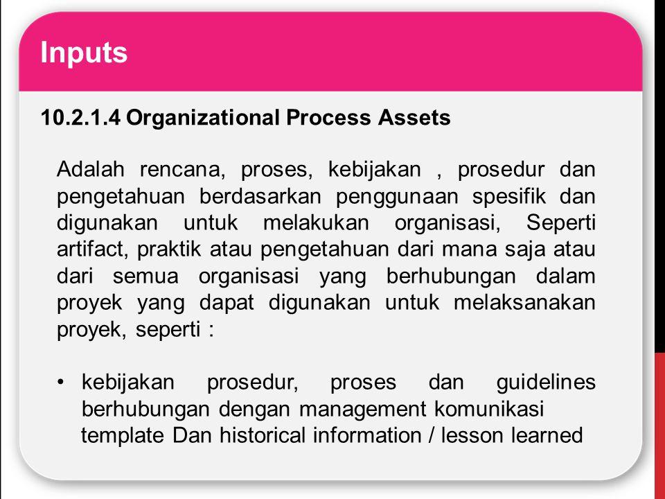Inputs 10.2.1.4 Organizational Process Assets Adalah rencana, proses, kebijakan, prosedur dan pengetahuan berdasarkan penggunaan spesifik dan digunaka