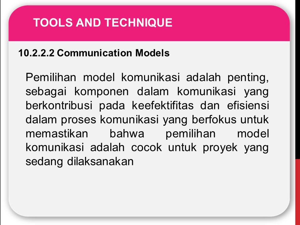 TOOLS AND TECHNIQUE 10.2.2.2 Communication Models Pemilihan model komunikasi adalah penting, sebagai komponen dalam komunikasi yang berkontribusi pada