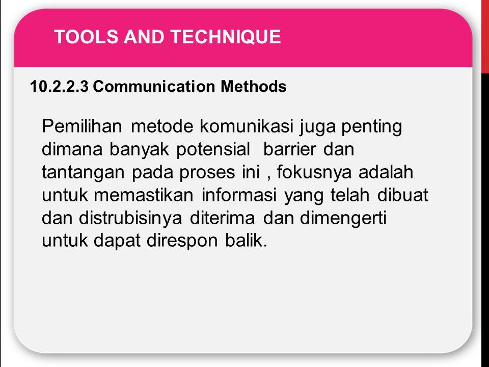 10.2.2.3 Communication Methods Pemilihan metode komunikasi juga penting dimana banyak potensial barrier dan tantangan pada proses ini, fokusnya adalah