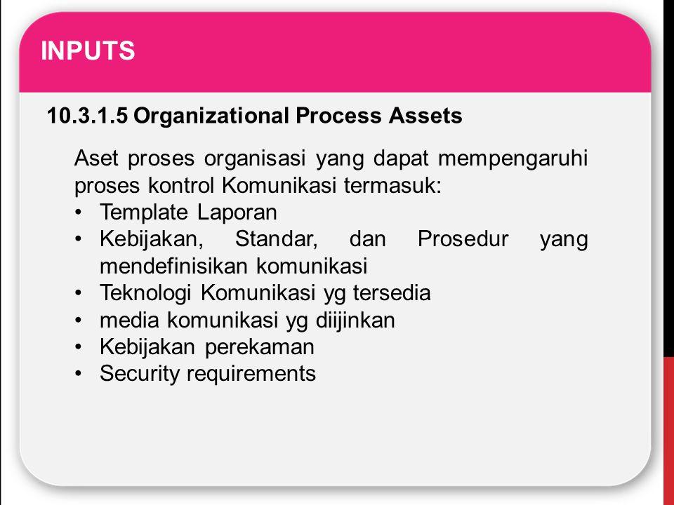 INPUTS 10.3.1.5 Organizational Process Assets Aset proses organisasi yang dapat mempengaruhi proses kontrol Komunikasi termasuk: Template Laporan Kebi