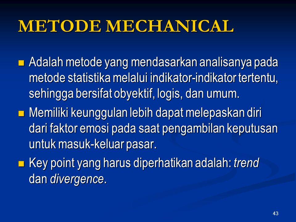 43 METODE MECHANICAL Adalah metode yang mendasarkan analisanya pada metode statistika melalui indikator-indikator tertentu, sehingga bersifat obyektif