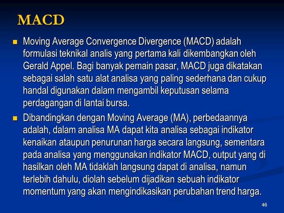 46 MACD Moving Average Convergence Divergence (MACD) adalah formulasi teknikal analis yang pertama kali dikembangkan oleh Gerald Appel. Bagi banyak pe