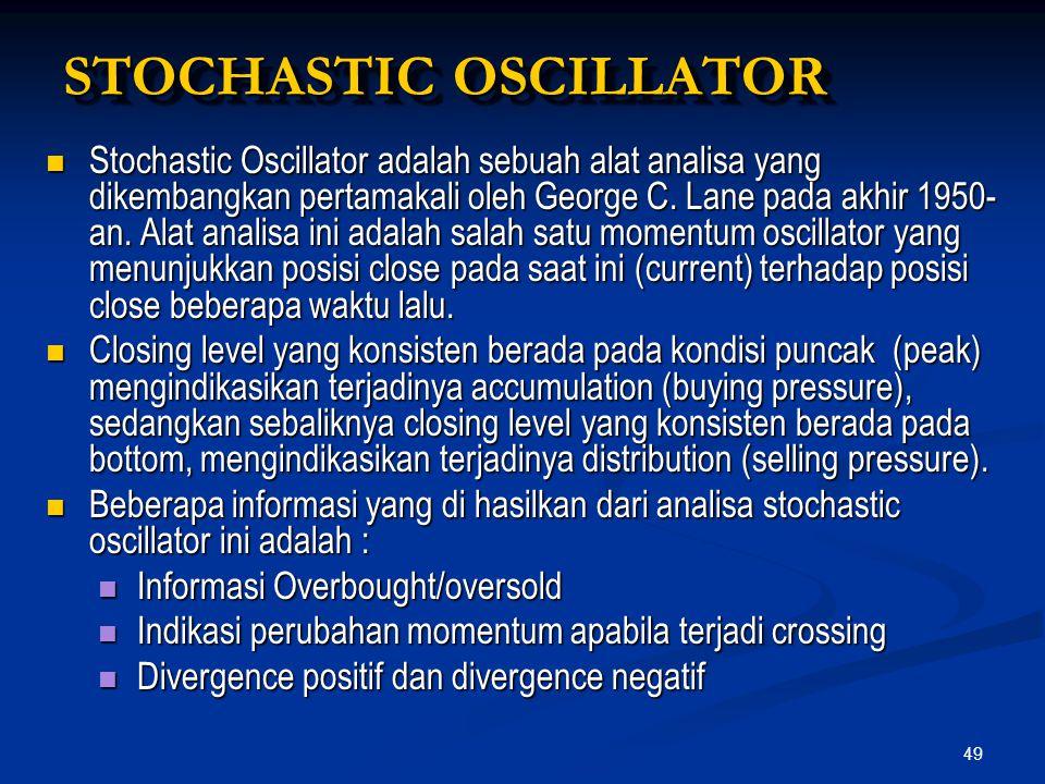 49 STOCHASTIC OSCILLATOR Stochastic Oscillator adalah sebuah alat analisa yang dikembangkan pertamakali oleh George C. Lane pada akhir 1950- an. Alat